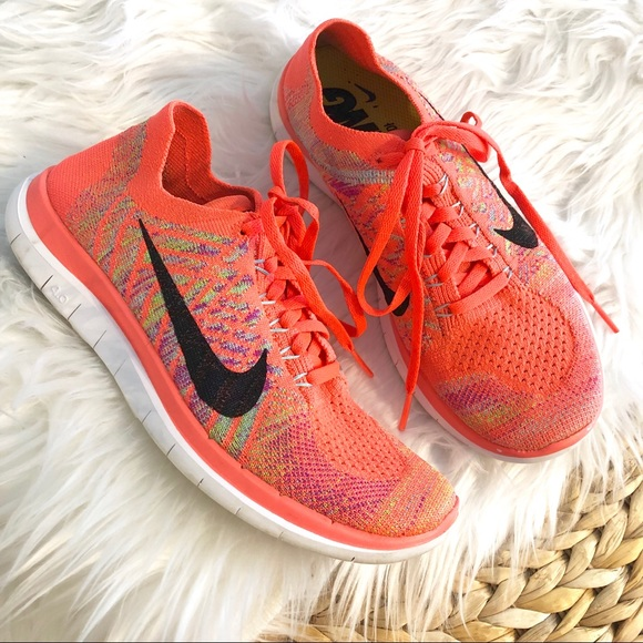 Nike Shoes Free Run Flyknit 40 Coral And Grey Like New Neon Coral Flyknit 40 løb Poshmark